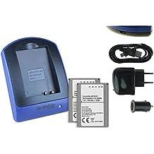 2 Baterìas + Cargador (USB/Coche/Corriente) BLN-1 per Olympus PEN E-P5 / OM-D E-M1, E-M5