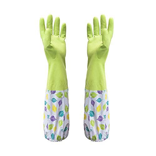 Wawer Küche Reinigung Handschuhe, 1 Paar Wasserdichte Handschuh Latex Gummihandschuhe Wäschehandschuhe Kautschuk Handschuhe für Küche Teller Reinigung Wäscherei Gartenhandschuh mit Flanell (Grün)