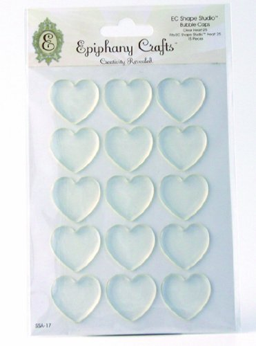 Ephiphany Crafts Clear Bubble Caps-Heart 25, 15/Pkg