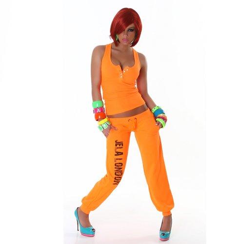 Jela London Haut Shirt Débardeur, Boutons en strass - femme Orange