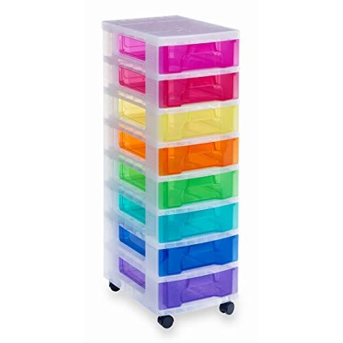 Really Useful Drawer Tower 8×7 Litre Clear/Rainbow