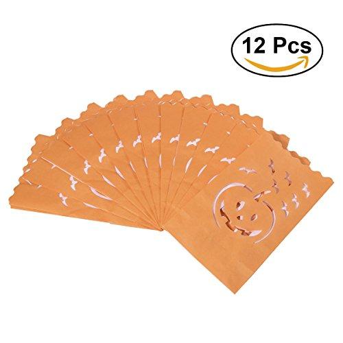 Tinksky Halloween-Papier-Kerze-Leuchtenbeutel-Schläger-Kürbis geschnitzte Teelicht-Halter-Beutel für glückliche Halloween-Dekoration 12pcs