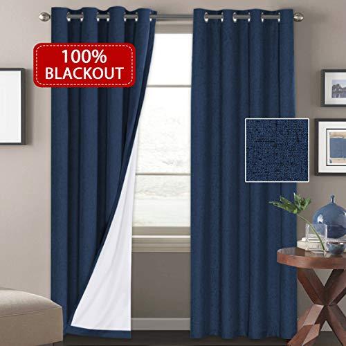 H. versailtex Outdoor Schimmelresistent 100% Blackout Vorhang & Leinen Look, Tülle Top Vorhänge für Wohnzimmer/Schlafzimmer (2Platten W52x L84Zoll, Weiß) Traditionell 52W x 108L Navy (Und Navy Weiß-platten)
