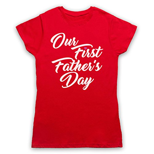 Our First Father's Day Baby Son Damen T-Shirt Rot