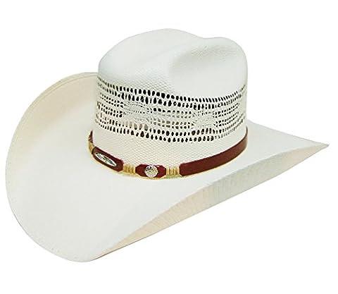 Modestone 8 Seconds Taditional Bangora Rodeo Straw Chapeaux Cowboy White
