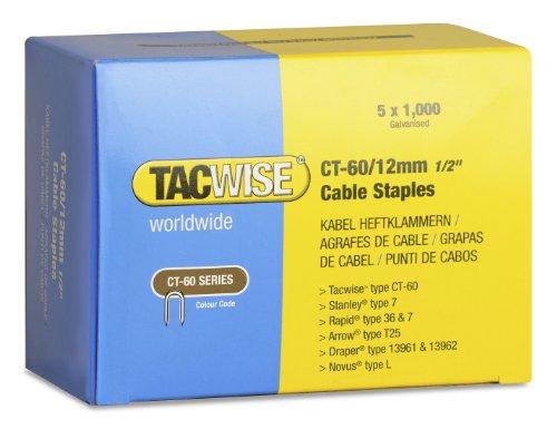 Tacwise 0355 Boîte de 5000 Agrafes pour câble CT-60/12 mm Blanc