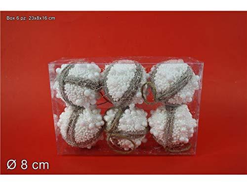 Dueesse box 6 pz palle cm 8 con corda juta glitterate in pvc addobbo palline albero di natale