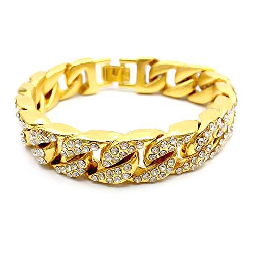 IWILCS Breite Armband, Hip Hop Curb Armbänder Kubanische Chain Iced Out Link Gliederarmband Schnalle typ Gold plattiert für Männer Herren Frauen