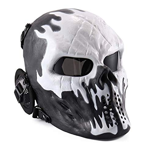 Nichino PC Lens Face Masks Ghost Tactical Outdoor Military CS Wargame Paintball Motorcycle Airsoft Skull Protection Full Face Mask (Paintballs Cs)