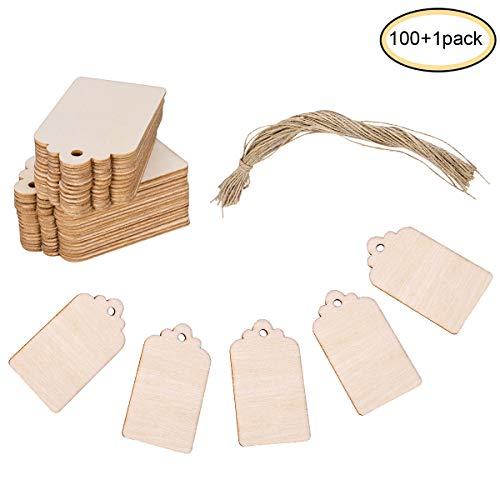 lzerne Etiketten Handwerk Etiketten aus Holz Rechteckige Form 39*69*2mm mit 30m Kordelzug für Mittelstücke DIY Tischdekorationen und Veranstaltungen ()