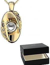 Golfschmuck Golf Schmuck Gold Kette Akoya Perle grau 750 + inkl. Luxusetui + Akoya Perle grau Kette Gold Perlenkette Anhänger Gold Halskette (Gelbgold 750) - Symbiosis AM252 GG750PGPE