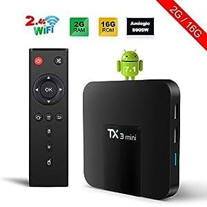 TX3 Mini Android 7.1 TV Box 2GB/16GB Box Con Amlogic S905W 4-Core Supporto 4K(60Hz)Full HD/H.265/WiFi/DLNA - 2GB/16GB