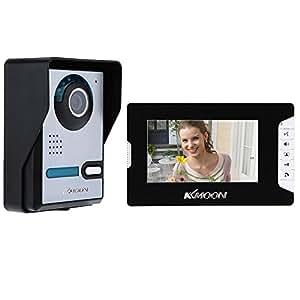 KKmoon - Videocitofono TFT LCD, 7pollici, sblocco dello schermo, vista notturna a infrarossi, campanello resistente all'acqua