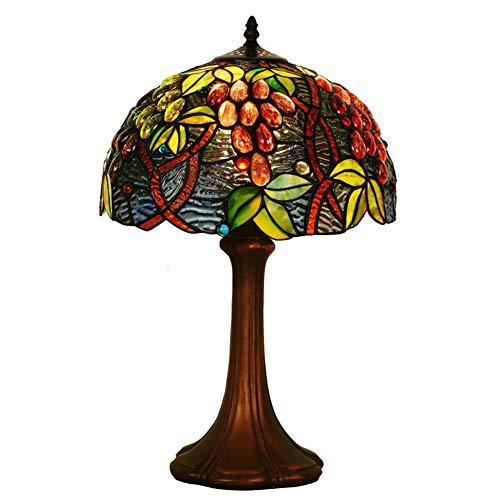 Tiffany-Stil Tischlampe, europäische farbige Glaslampe, Schlafzimmer Wohnzimmer Nachttischlampe, kreative retro dekorative Traube Kunst Tischlampe - Tiffany-einzelne Licht Tischleuchte