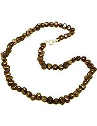 El Coral Collar Perlas Botón Barrocas Color Bronce 6mm, 42cm Longitud