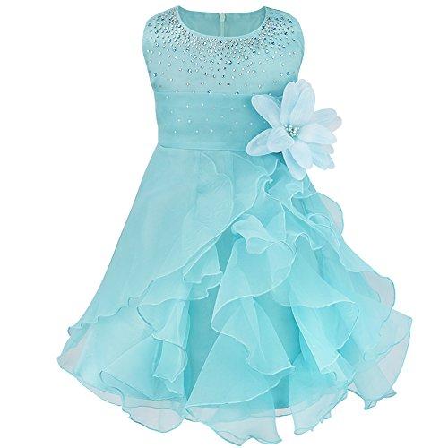 iEFiEL Babybekleidung - Baby Mädchen Kleid Blumenmädchen Festliches Kleid Taufkleid Hochzeit Organza Party Kleid 62 68 74 80 86 92 98 Blau 68-74 (Herstellergröße: 65)