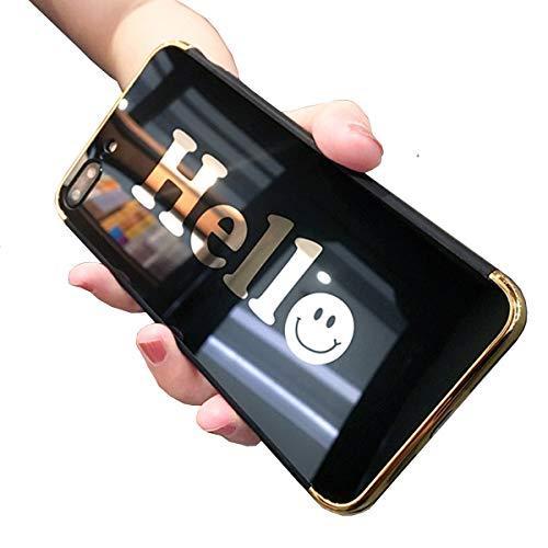 Homikon Spiegel Silikon Hülle Überzug TPU Silikon Tasche Bling Glänzend Glitzer Handyhülle Schwarz Hello Case Weiche Schutzhülle Stoßdämpfend Case Cover Etui für iPhone 6 Plus/6S Plus