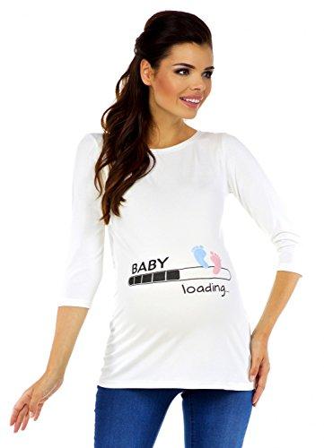 Zeta Ville - Damen Umstands-Oberteil Top T-Shirt witzige Baby Loading Druck 549c (Nicht-Gerade Weiss, EU 40/42) (Baby Frauen T-shirt)