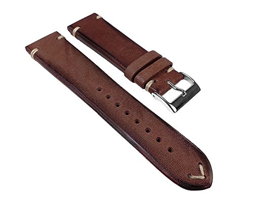 Pony-Vintage Ersatzband Uhrenarmband Pferdeleder Band Braun 23115VS passend zu RLX, Stegbreite:24mm