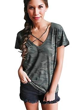 Tongshi Mujeres Camuflaje V Cuello Manga Corta Tanque De Cultivos Top Blusa Camiseta