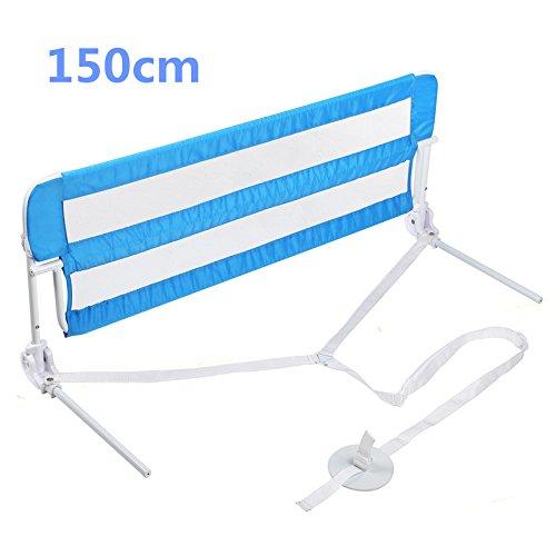 MVPOWER Barrera de Cama Guarda-sueños Barandilla para Cama de Bebé Abatible Metal / Plástico / Paño de Oxford Color Azul 150x 40x 50cm con Correa de 1.6 M