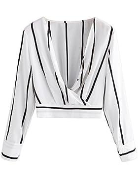 YTJH Mujer Blusa a Rayas con Dobladillo Elástico Camiseta Corta Delantero Cruzado Top de Moda Manga Larga Cuello...