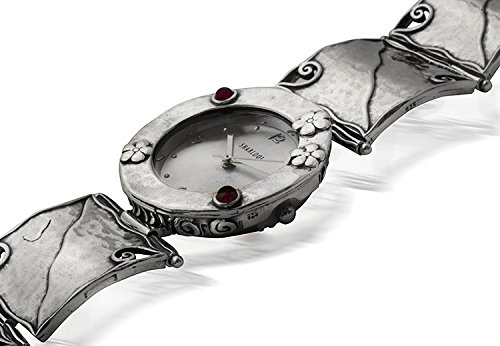 Silver Watch Shablool Female 925 Sterling Silver Round Garnet Red