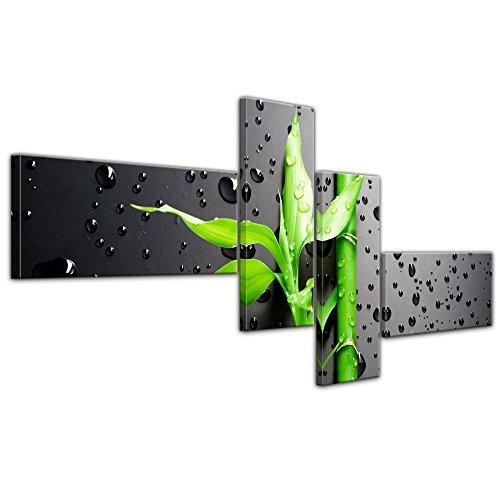 "Bilderdepot24 Cuadros en Lienzo""Bambú fresco II"" 140x65 cm 4tlg - listo tensa, directamente desde el fabricante"
