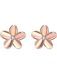 Pendientes de oro rosado de 18 quilates y plata en forma de flor YEAHJOY, pendientes con pequeños cristales imitación diamante para dama.