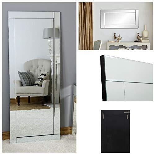 Dipamkar® W48 x H95cm - Vintage Espejos de pared con Marco de Madera - espejo de cuerpo entero - Espejo...