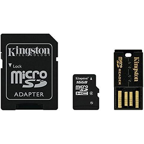Kingston Multi Kit (Micro-SDHC con lector USB y un adaptador SD de tamaño estándar), 4 MB/s, 16 GB, Clase 4