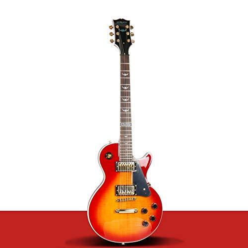 Miiliedy LP E-Gitarre Erwachsene Anfänger Rock Roll Blues Heavy Metal Musikstile Professionelle E-Gitarre Set Musikinstrument mit Big Bag Gitarrengurt ( Color : Orange )