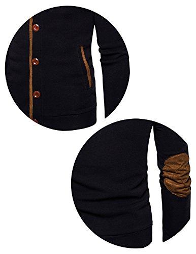 Boom Fashion Uomo Felpa Giacche Fodera Cappotti Con Cappuccio Caldo Cappotto Giacche Tops Nero
