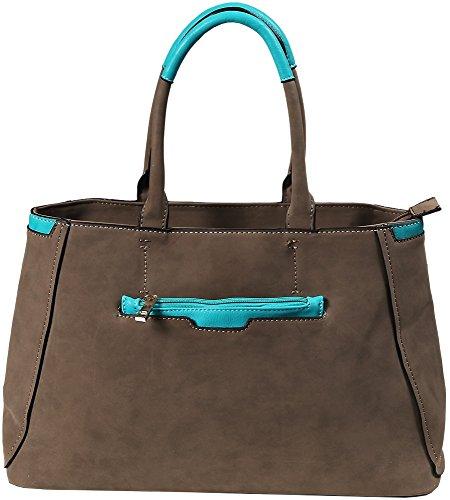 Akzent Damenhandtasche Taupe mit blauem Kontrast TA0150013212