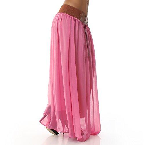 Damen Rock Maxirock Hüftrock Unterrock Lang Gürtel Trendfarben Pink