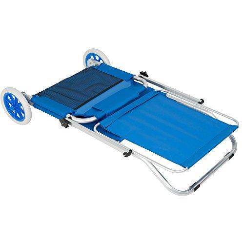 TecTake 800536 - Lettino da Spiaggia con Ruote, Tettuccio Parasole Regolabile Alluminio 176 cm - Disponibile in Diversi Colori (Blu | Nr. 402784)