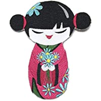 "Beyondvision Krafty Kokeshi Japonés Muñeca Hierro Bordado Parches De Costura 5.84""* 4.85"" Negro, Rosa, Azul"