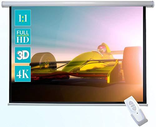 ivolum schermo motorizzato 240 x 240cm | Formato 1:1 | schermo elettrico utilizzabile per home cinema o business | gestione comoda con telecomando incluso