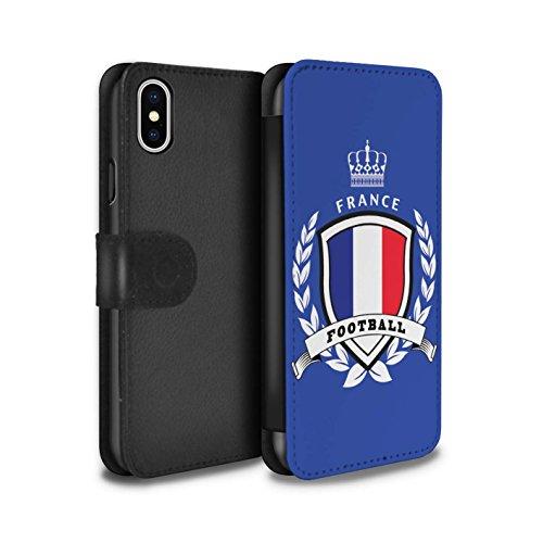 Stuff4 Coque/Etui/Housse Cuir PU Case/Cover pour Apple iPhone X/10 / Pays-Bas Design / Emblème Football Collection France/Français