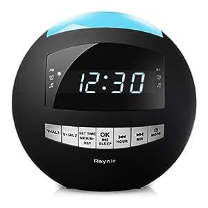 Raynic Radiosveglia FM Dimmerabile, Ricarica USB, Doppia Sveglia, Batteria Tampone,Timer Autospegnimento,Funzione Snooze