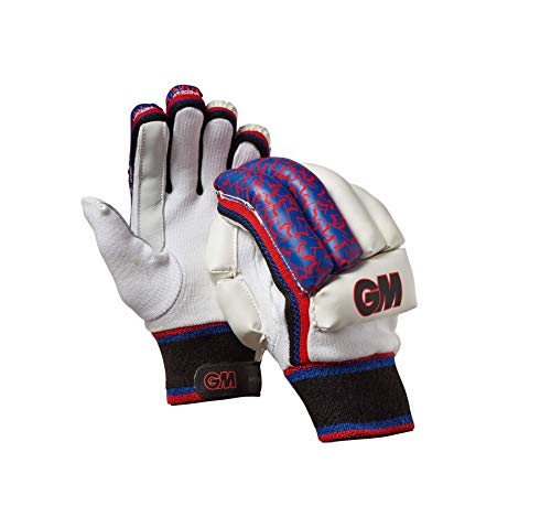 Gunn & Moore Kinder Handschuhe Mythos Batting Gloves, Kinder, 51681915, White/Silver/Black/Red/Blue, Youths RH (Handschuhe Batting Kinder)