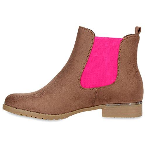 Modische Damen Chelsea Boots Metallic Lederimitat Stiefeletten Gr. 36-42 Braun Pink