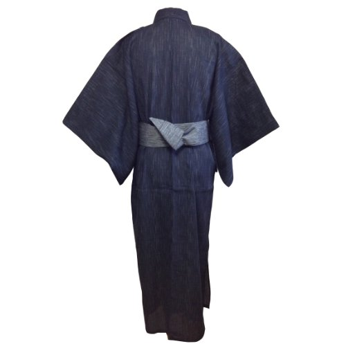 Edoten Men's Kimono Japan Shijira Weaving Yukata 703 Black L - 4