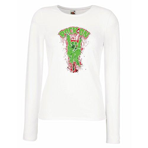 Camisetas de Manga Larga para Mujer ¡Símbolo del metal de la mano del zombi! Signo de los cuernos (Medium Blanco Multicolor)
