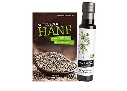 farmgoodies SUPERFOOD & IHRE ANWENDUNG I Bio Hanföl - direkt vom Bauern! | Nussig, grasig, kaltgepresst | + Super Food HANF: Eiweißwunder und Heilmittel -