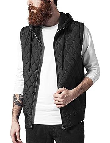 Urban Classics Men's Diamond Quilted Hooded Vest Gilet, Black-Schwarz (Blk/Blk 17), XL
