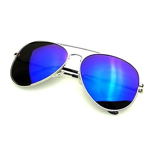 Emblem Eyewear - Prime Complète En Miroir Aviator Lunettes De Soleil Polarisées Flash Miroir Lentille (Argent Bleu)
