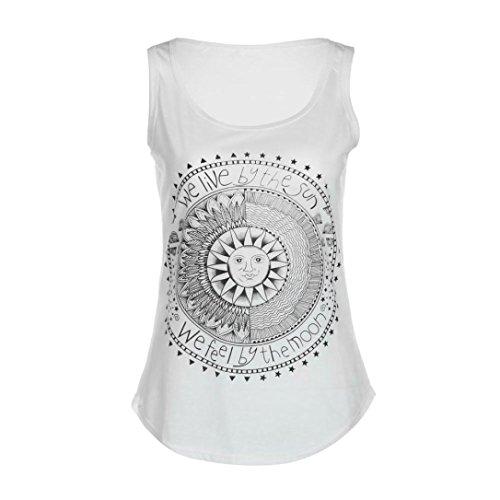 Mujer camiseta,Sonnena ❤️ ❤️ Patrón de sol estampado sin manga camiseta para mujer y chica joven casual sexy traje de verano fresco para citas Actividades al aire libre (M, BLANCO)