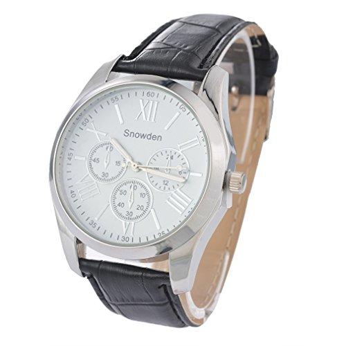Souarts Herren Schwarz Kunstleder Armbanduhr Quarzuhr 3 Zifferblatt Uhr mit Batterie