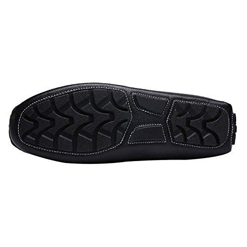Rismart Hommes Doux Grain Complet Cuir de Deuxième Couche Mocassins de Conduire Confort Penny Chaussure Bateau Noir
